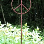 Garden peace sign sculpture.