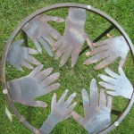 """Circle of Hands"" end table."