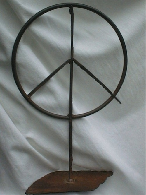 Table top peace sign sculpture.